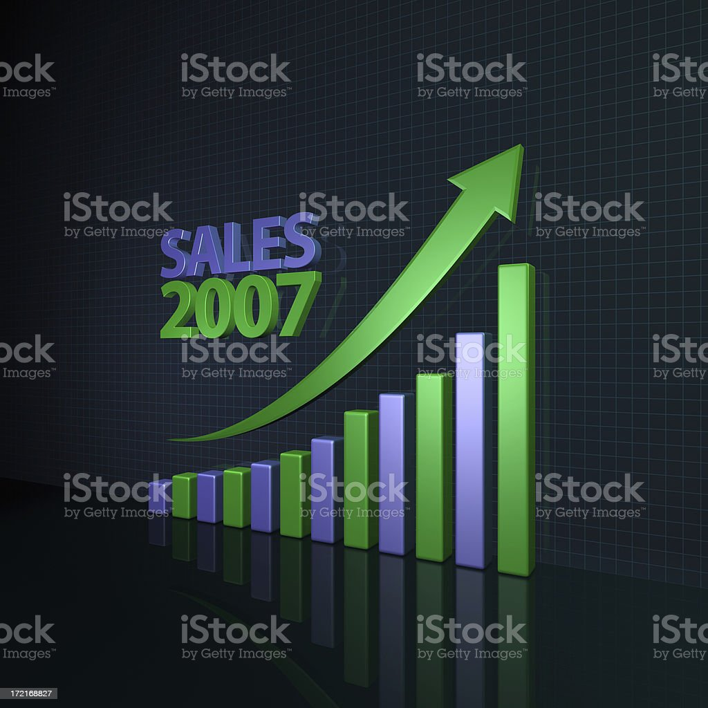 Year 2007 Sales Growth Chart(XL) royalty-free stock photo