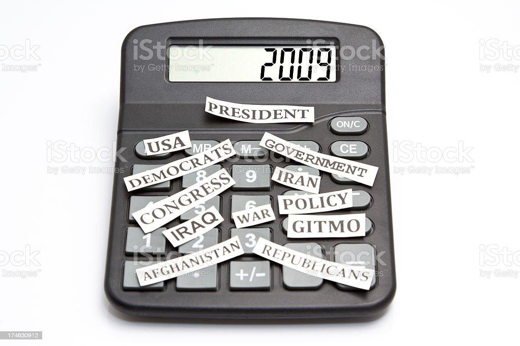 Year 2009 Calculator stock photo