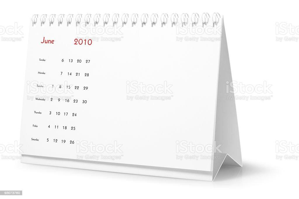 Year 2010, month June  - desktop calendar royalty-free stock photo