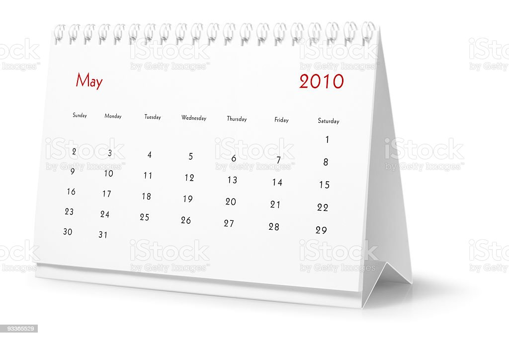 Year 2010, month May  - desktop calendar royalty-free stock photo