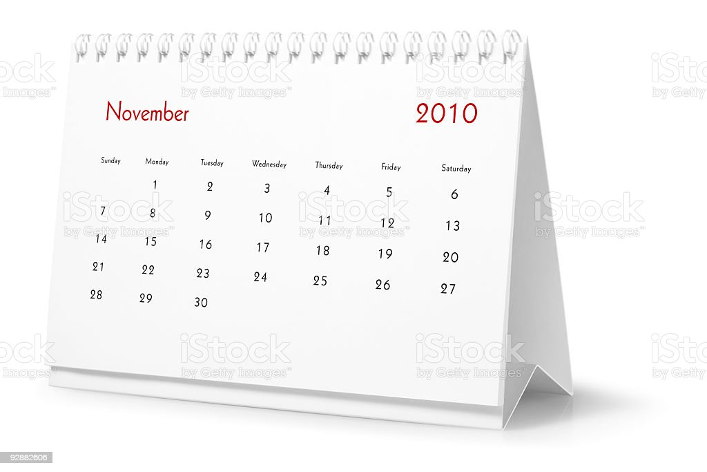 Year 2010, month November  - desktop calendar royalty-free stock photo