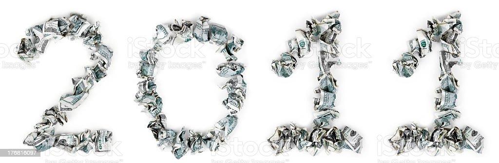 Year 2011 - Crimped 100$ Bills stock photo
