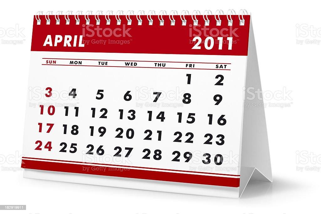 Year 2011, month April - desktop calendar royalty-free stock photo