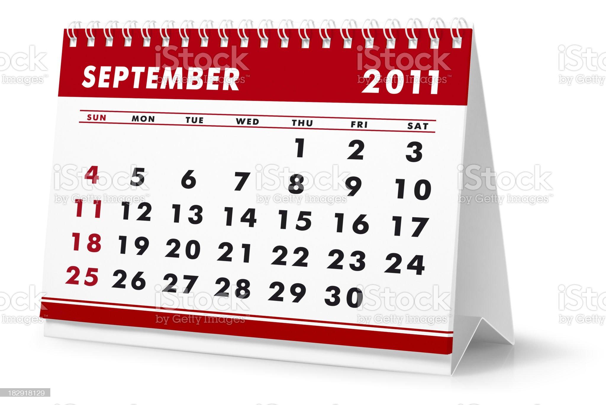 Year 2011, month September - desktop calendar royalty-free stock photo