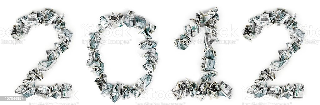 Year 2012 - Crimped 100$ Bills royalty-free stock photo