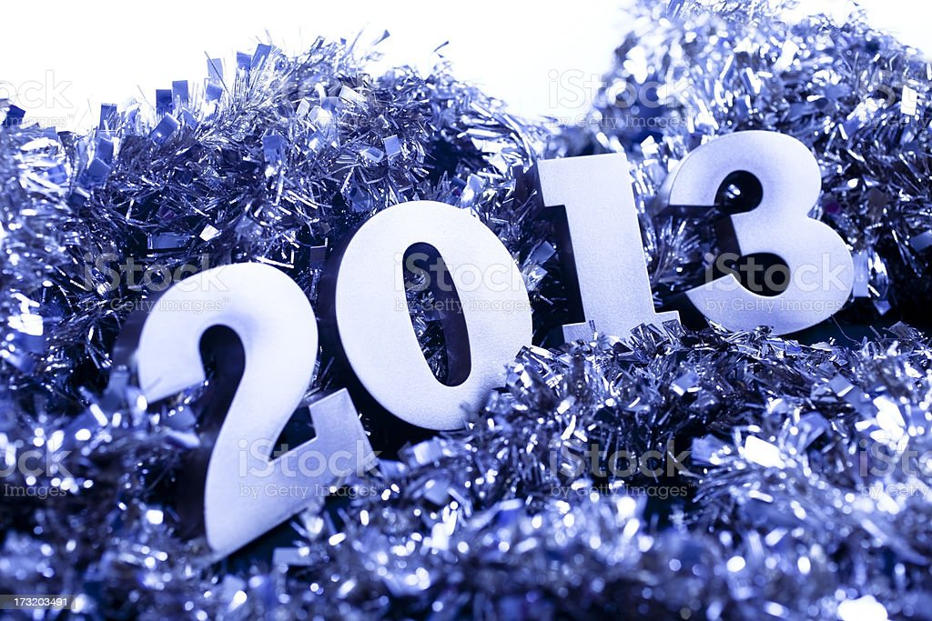 Year 2013 date in blue silver tinsel stock photo