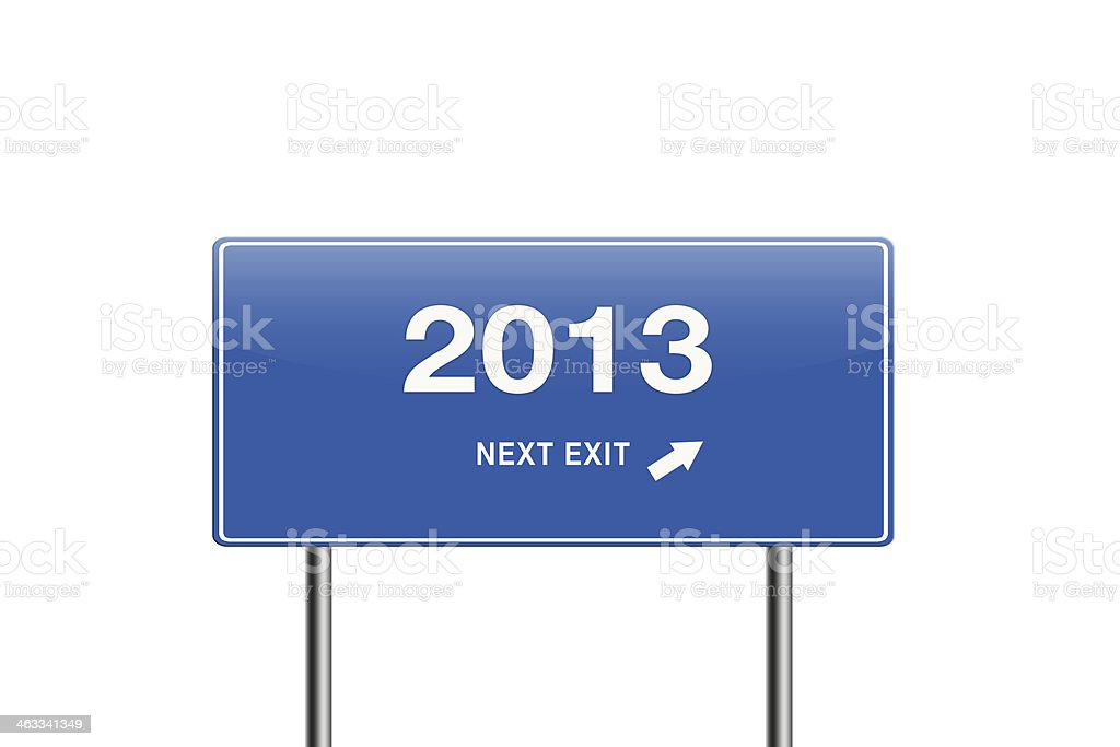 Year 2013 next exit inside a road sign. stock photo