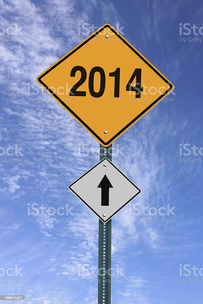 year 2014 ahead roadsign royalty-free stock photo