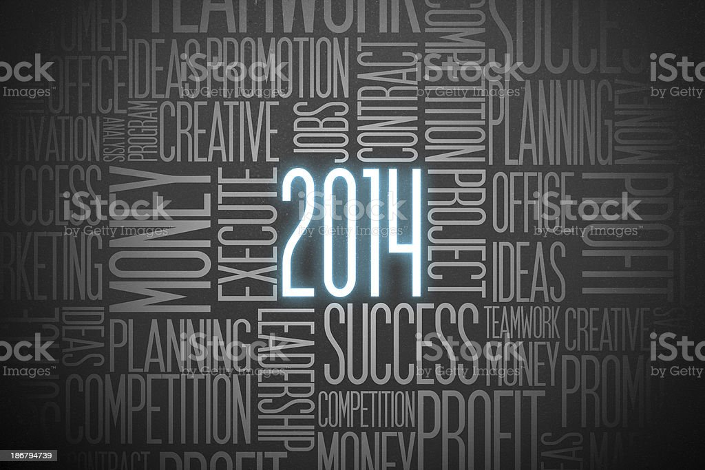 Year 2014 and business concept stock photo