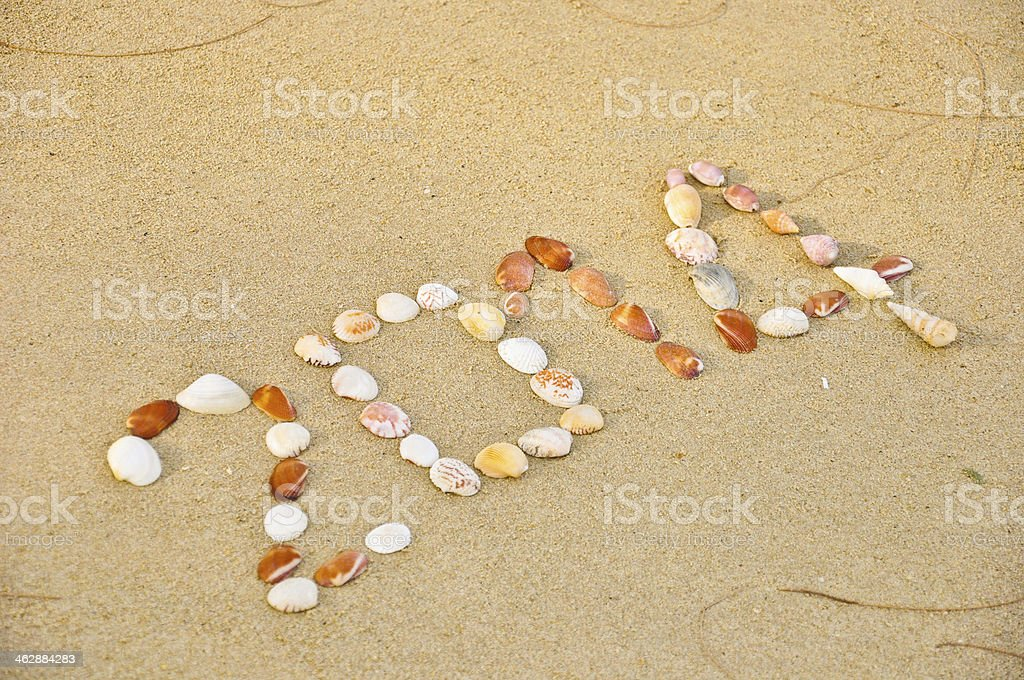 year 2014 made of small shell on the sandy beach royalty-free stock photo