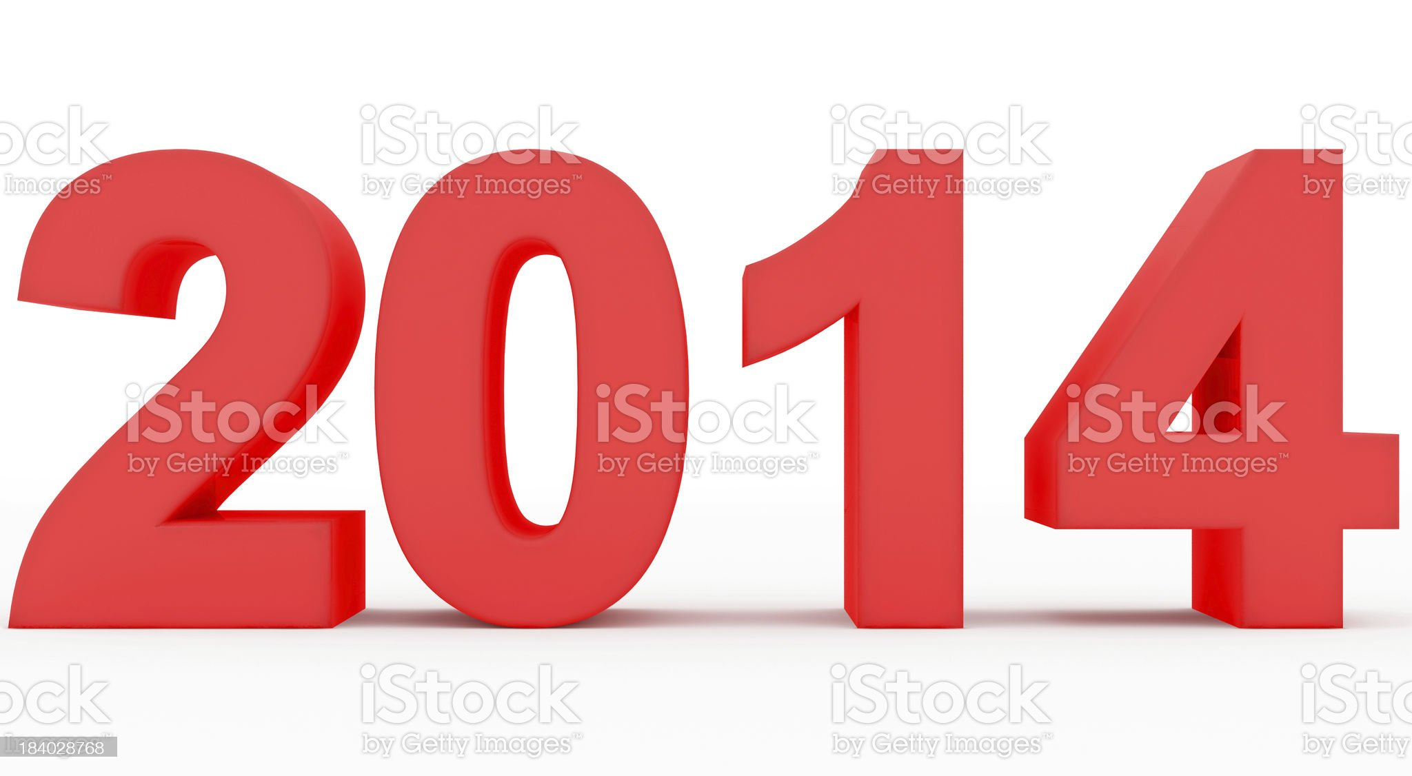 year 2014 marked royalty-free stock photo