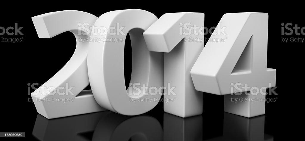 Year 2014 on black royalty-free stock photo