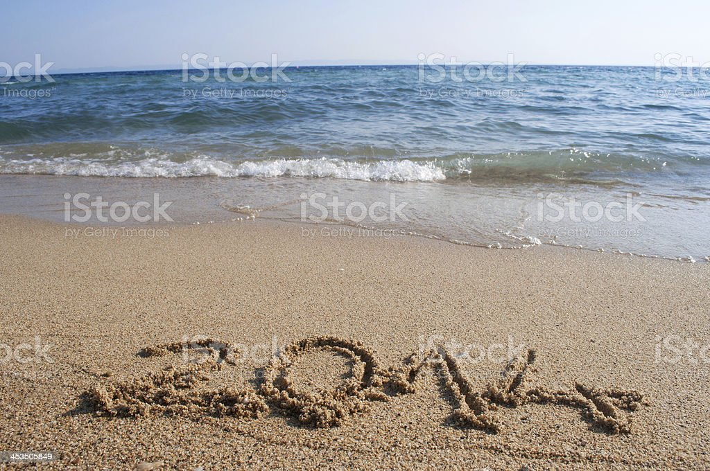 Year 2014 on the beach royalty-free stock photo