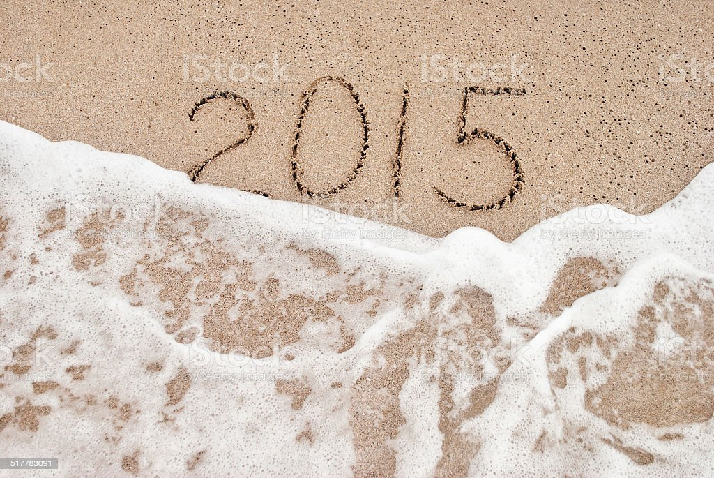 Year 2015 beach vacation concept for new year 2015 stock photo