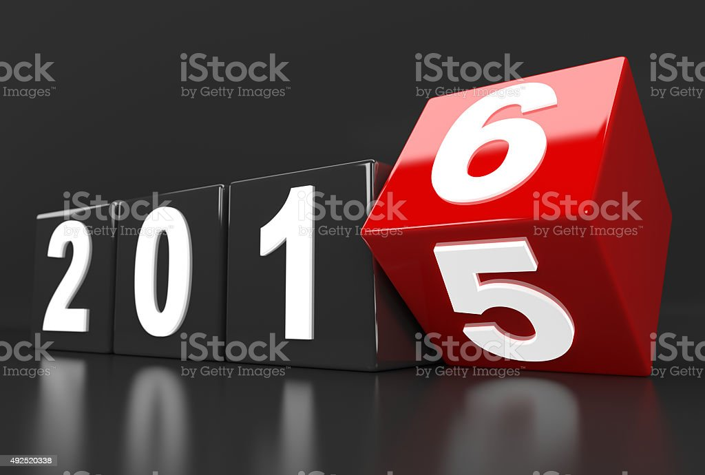 Year 2015 changes to 2016 stock photo