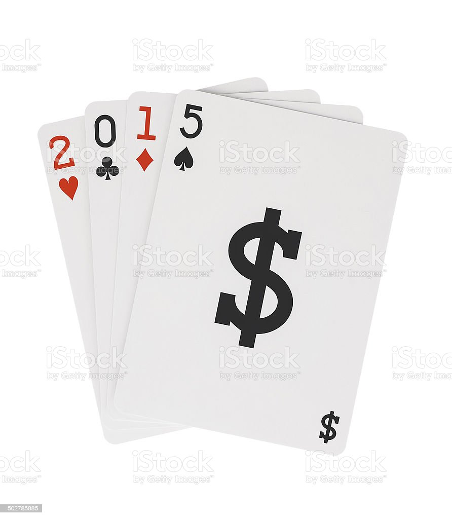 Year 2015 Playing Cards with Dollar Sign Symbol stock photo