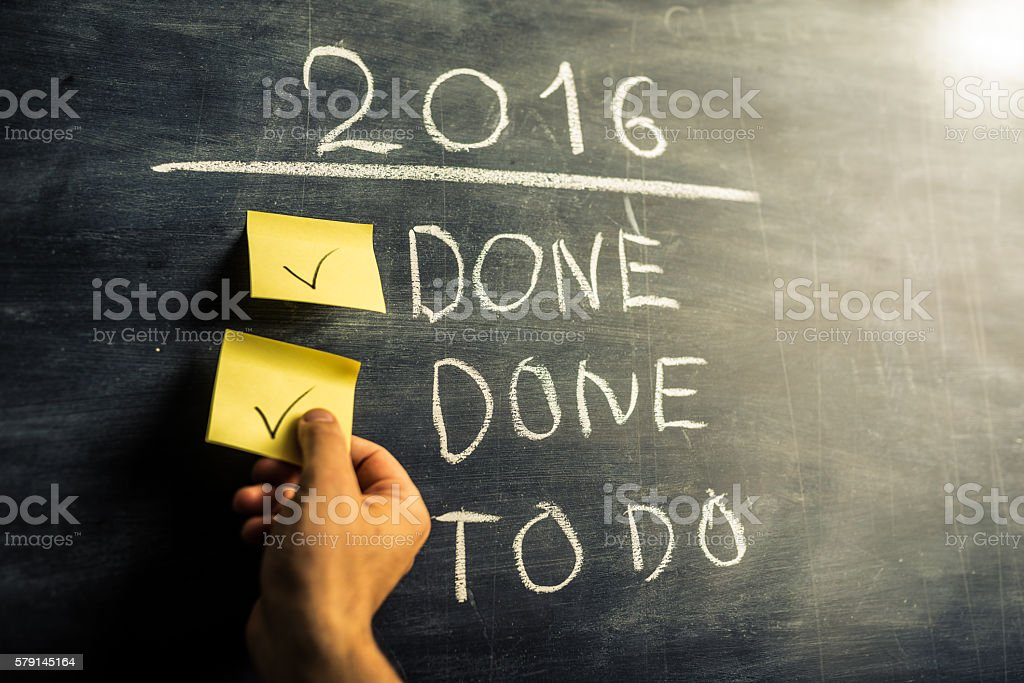 Year 2016 achievement and to do list stock photo