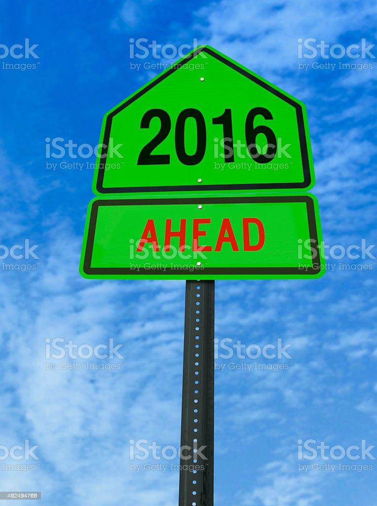 year 2016 ahead roadsign stock photo