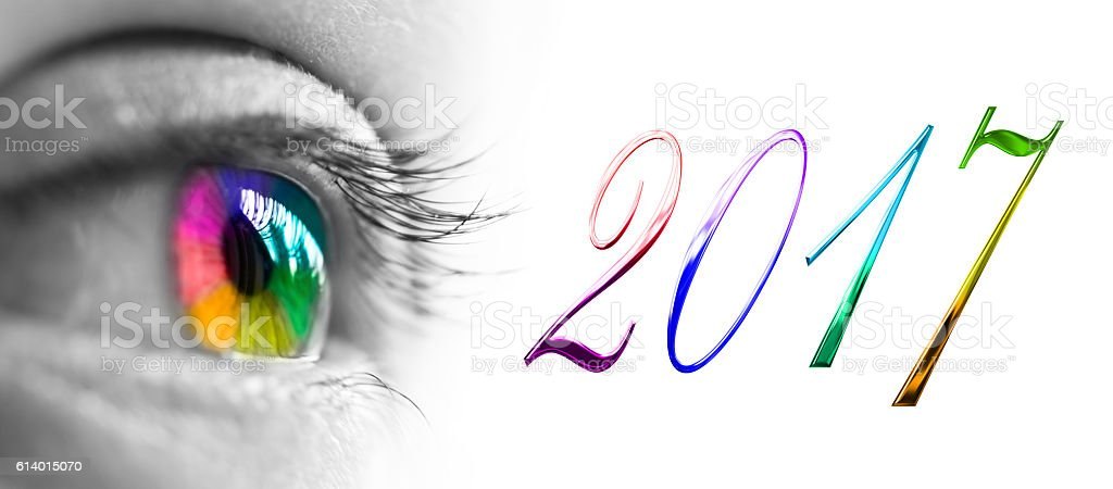year 2017 and colorful rainbow eye header,  new year greetings concept stock photo