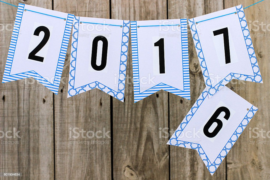 Year 2017 flag banner stock photo