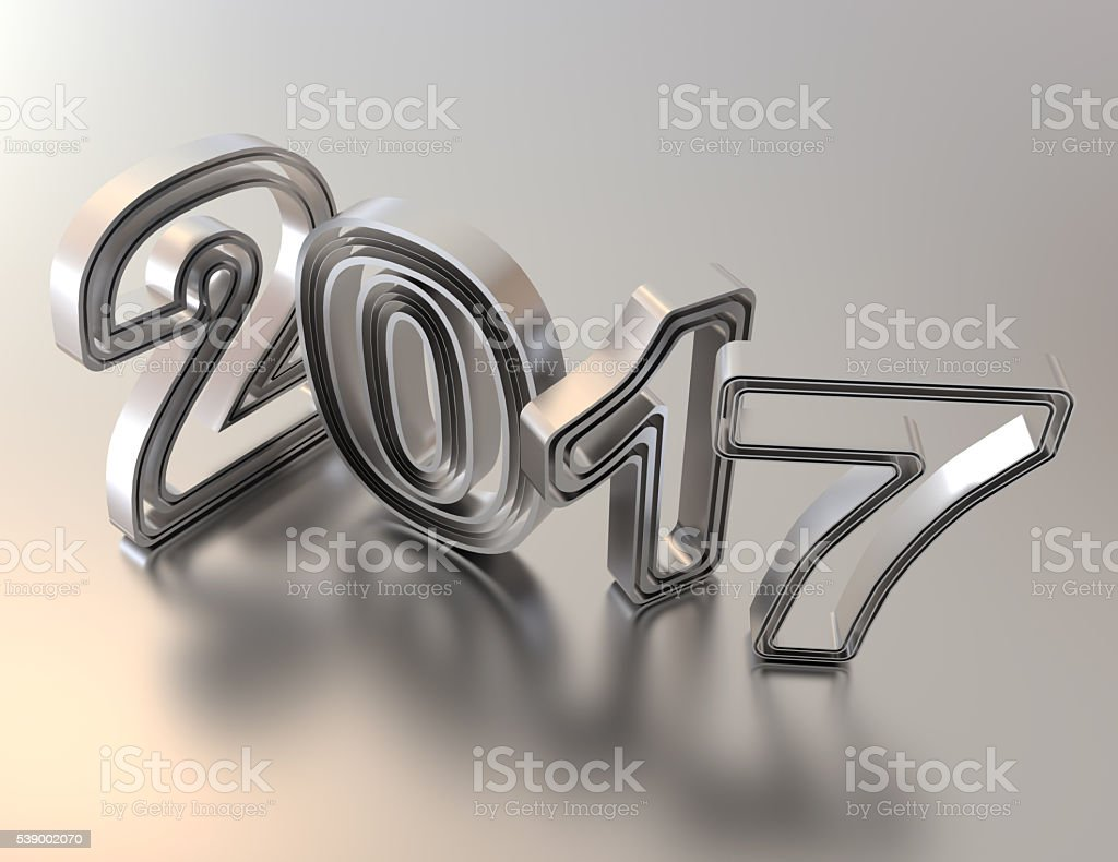Year 2017 from metal numbers concept stock photo