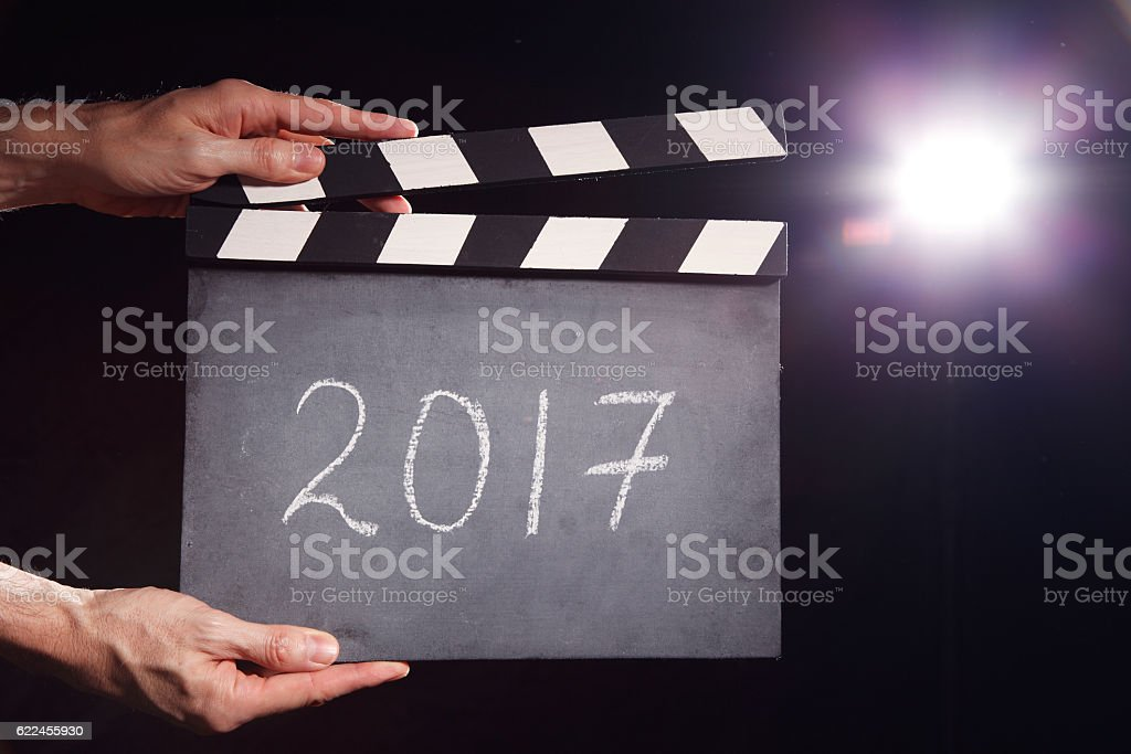 Year 2017.  Lights, Camera, Action! stock photo