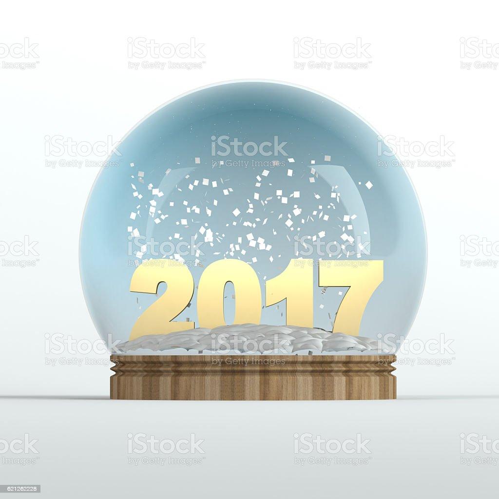 Year 2017 snow globe stock photo