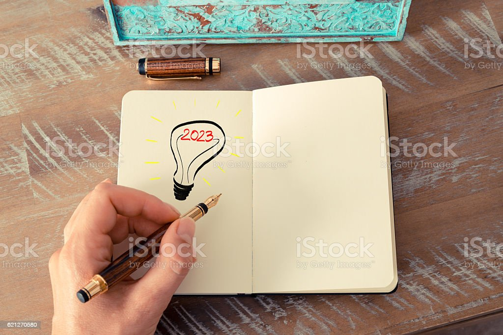 Year 2023 symbol for bright idea and business concept stock photo