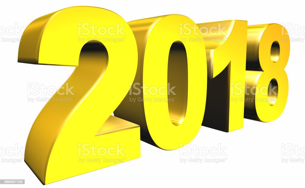 2018 Year 3d text stock photo