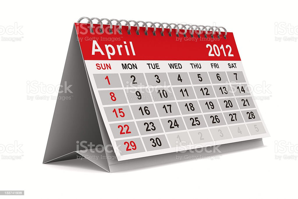 2012 year calendar. April. Isolated 3D image royalty-free stock photo