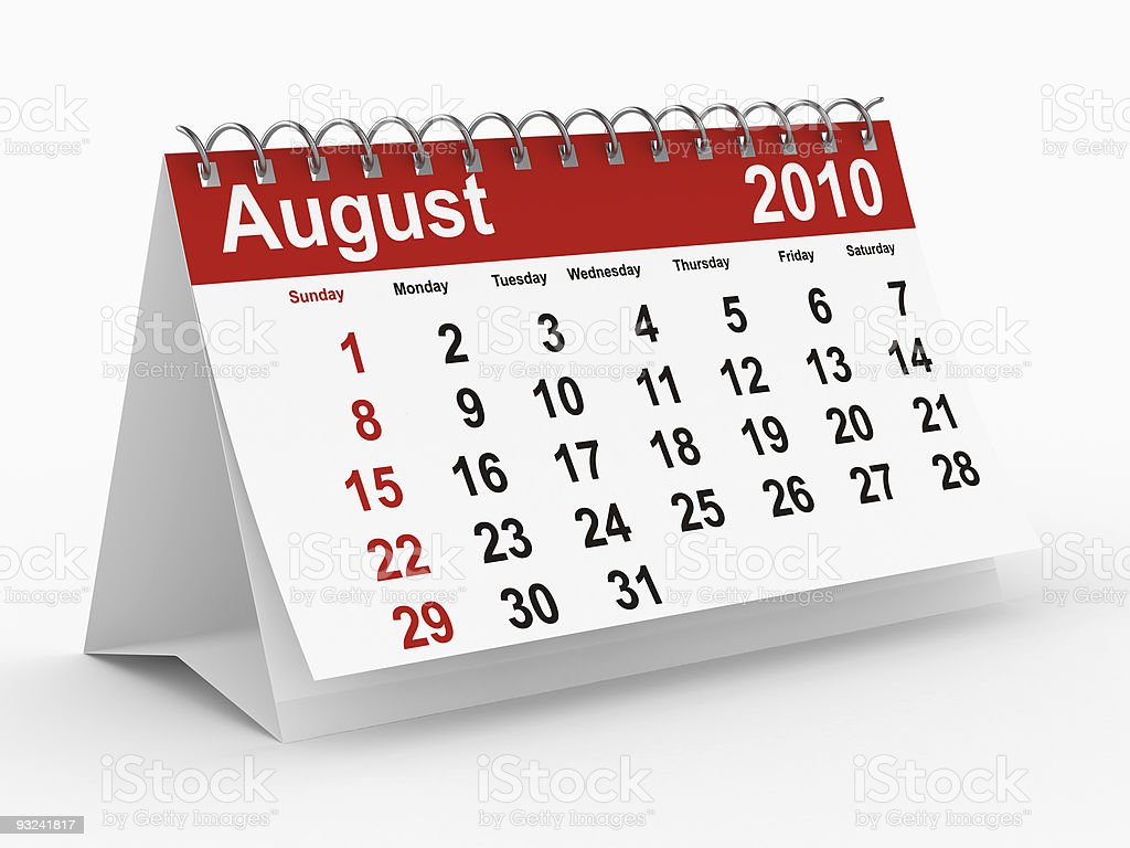2010 year calendar. August. Isolated 3D image royalty-free stock photo