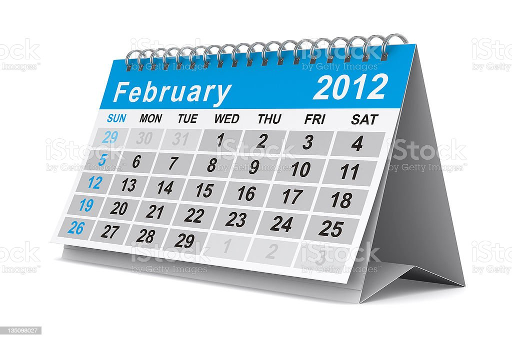 2012 year calendar. February. Isolated 3D image royalty-free stock photo