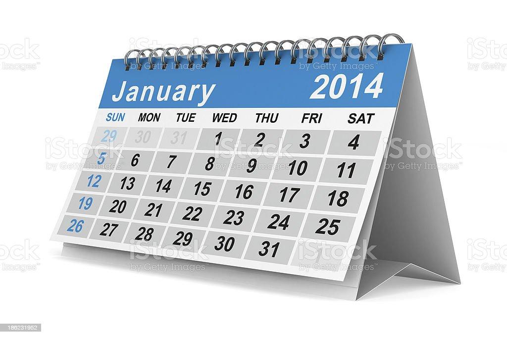 2014 year calendar. January. Isolated 3D image royalty-free stock photo