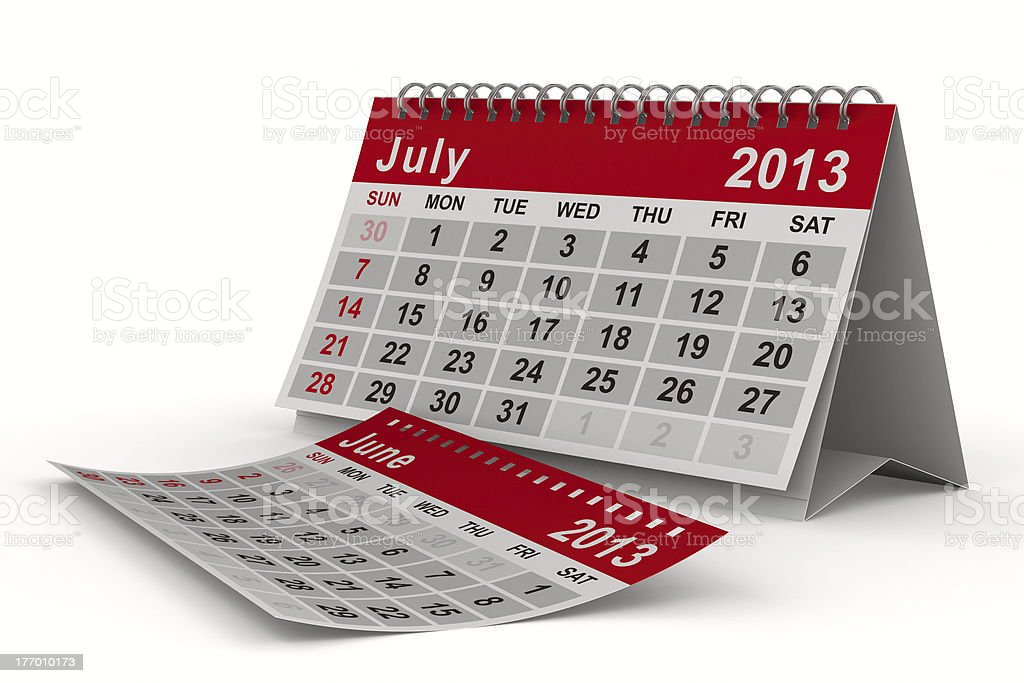 2013 year calendar. July. Isolated 3D image royalty-free stock photo