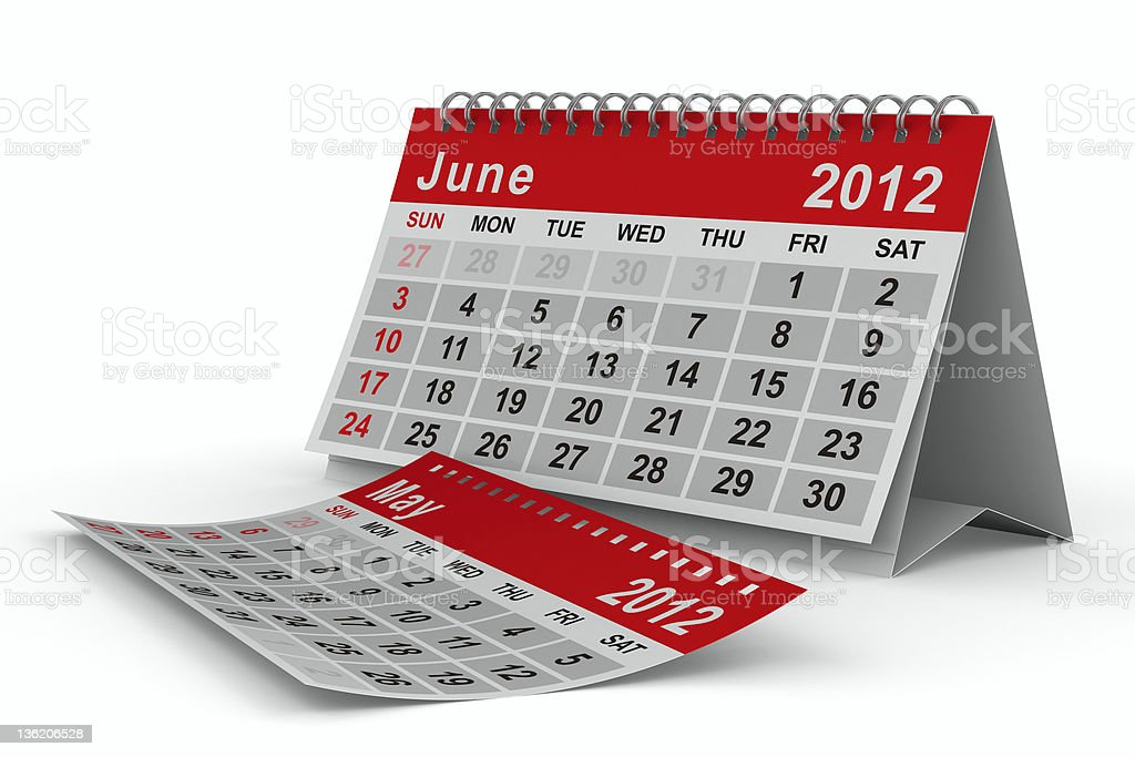 2012 year calendar. June. Isolated 3D image royalty-free stock photo