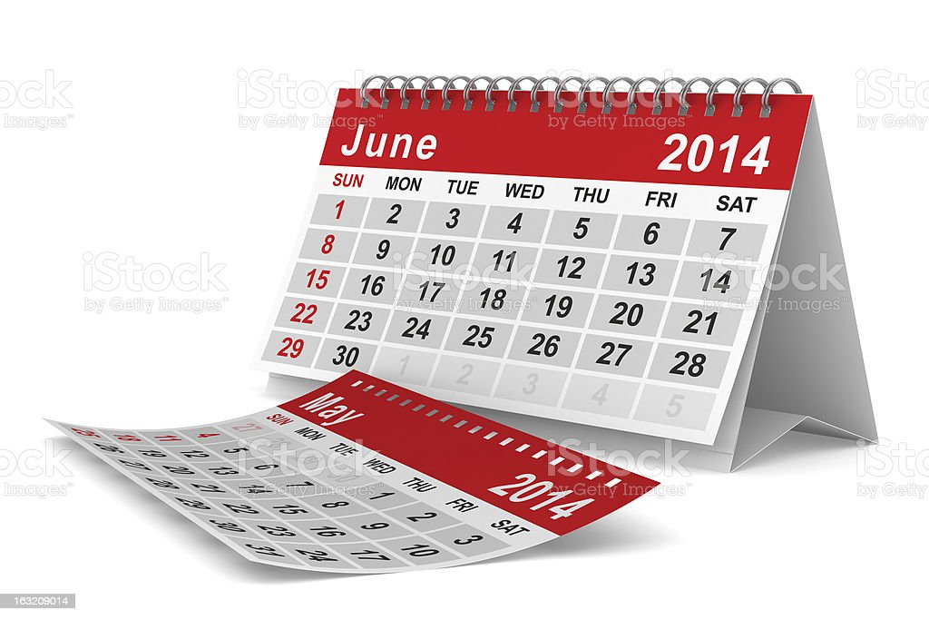 2014 year calendar. June. Isolated 3D image royalty-free stock photo