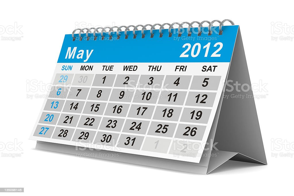 2012 year calendar. May. Isolated 3D image royalty-free stock photo