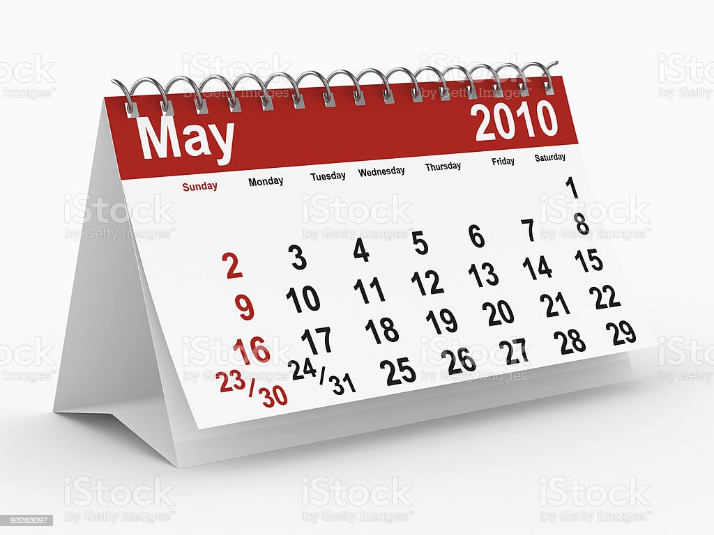2010 year calendar. May. Isolated 3D image royalty-free stock photo