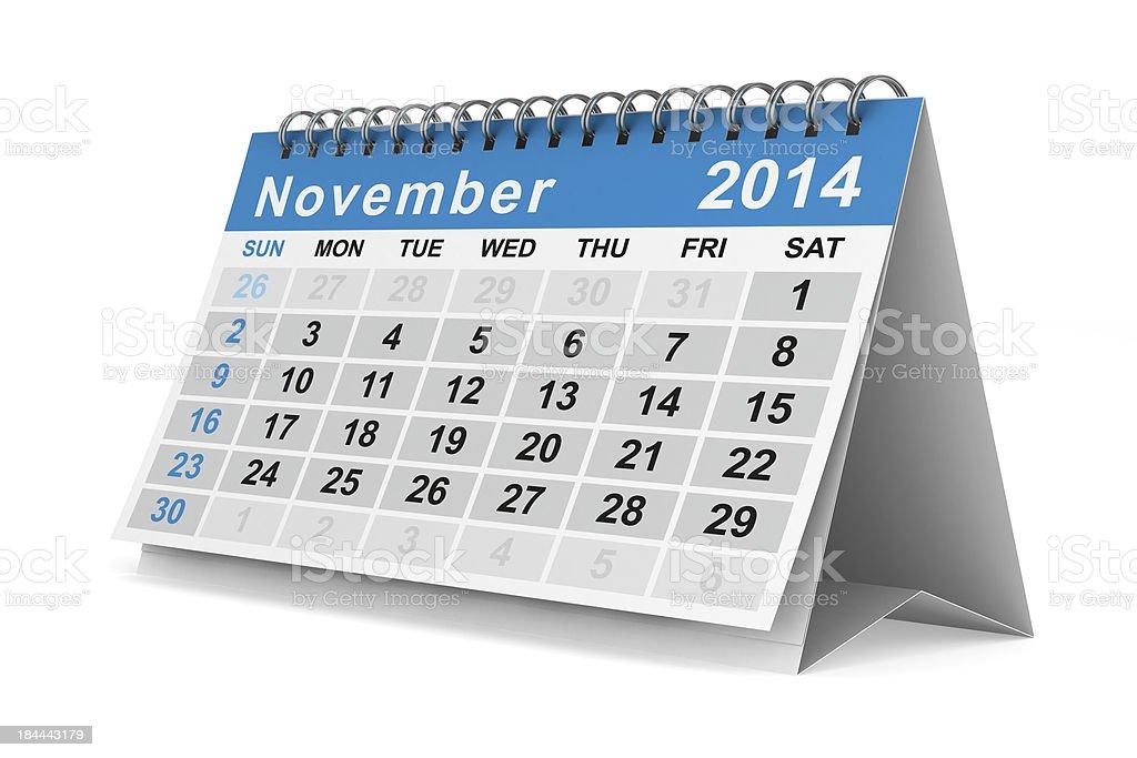 2014 year calendar. November. Isolated 3D image royalty-free stock photo