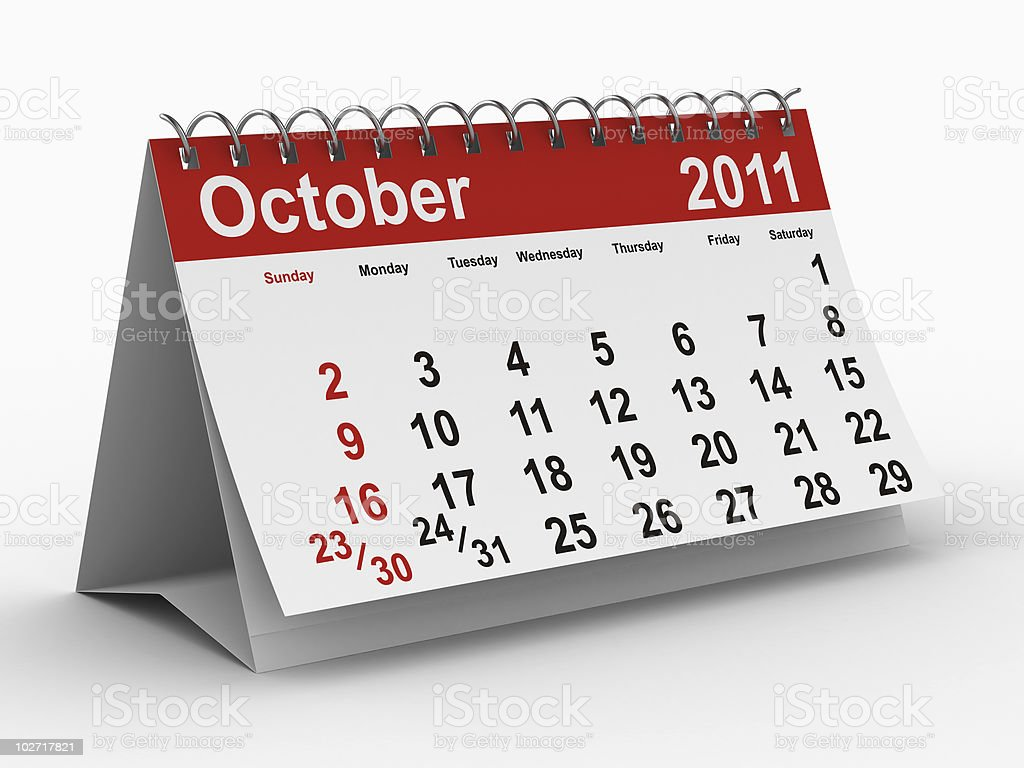 2011 year calendar. October. Isolated 3D image royalty-free stock photo