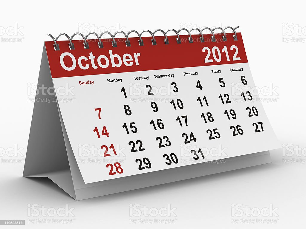 2012 year calendar. October. Isolated 3D image royalty-free stock photo