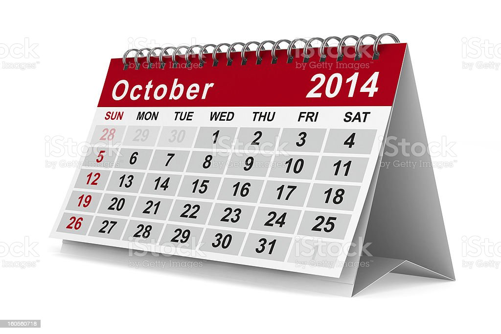 2014 year calendar. October. Isolated 3D image royalty-free stock photo
