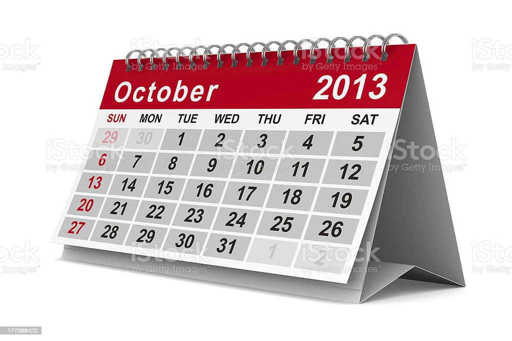 2013 year calendar. October. Isolated 3D image royalty-free stock photo
