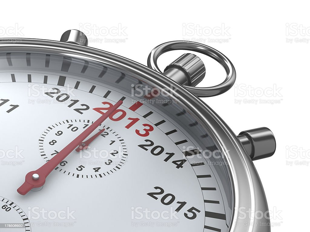 year calendar on stopwatch. Isolated 3D image royalty-free stock photo