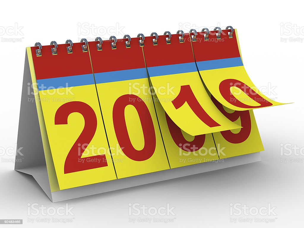 2010 year calendar on white backgroung. Isolated 3D image royalty-free stock photo
