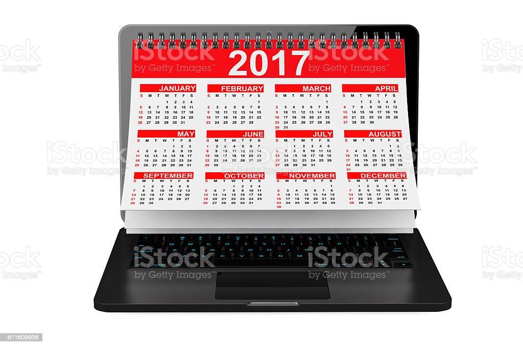 2017 Year Calendar over Laptop Screen. 3d Rendering stock photo