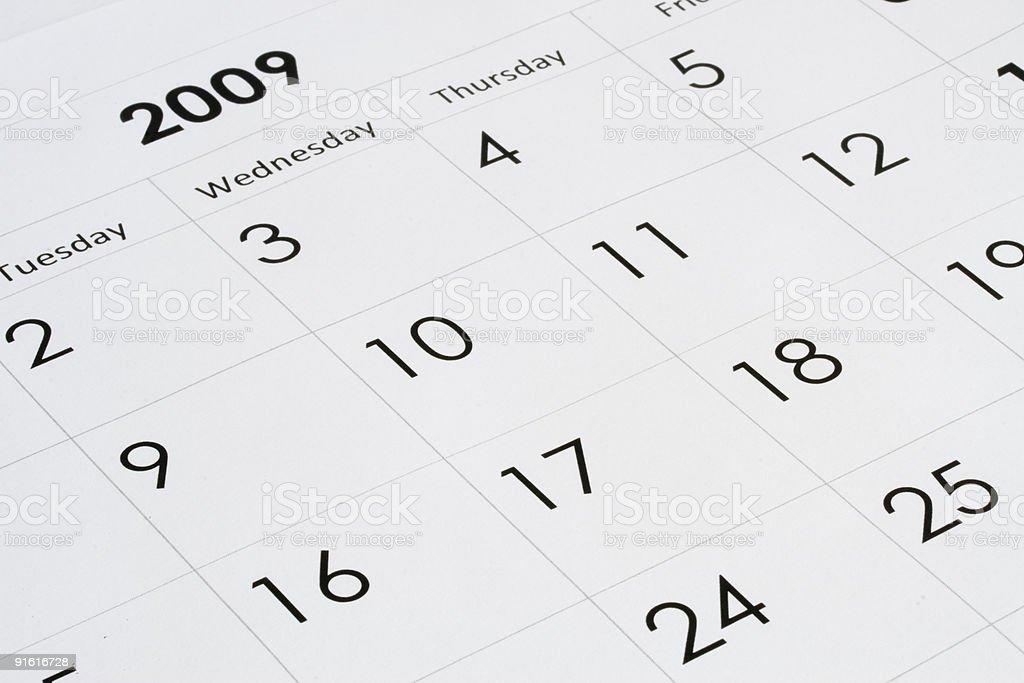 2009 year calendar royalty-free stock photo