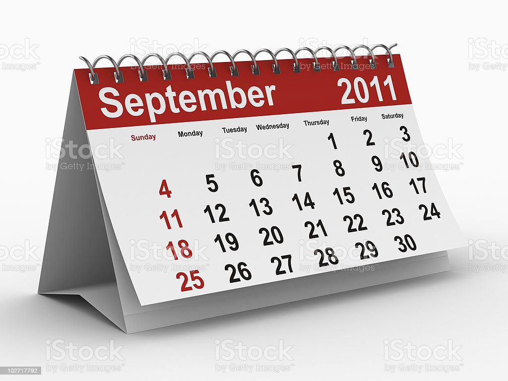 2011 year calendar. September. Isolated 3D image royalty-free stock photo
