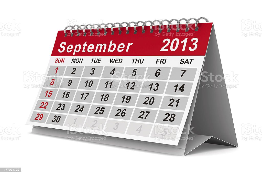 2013 year calendar. September. Isolated 3D image royalty-free stock photo