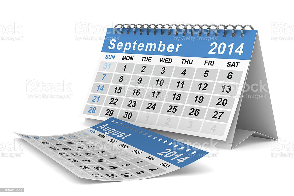 2014 year calendar. September. Isolated 3D image royalty-free stock photo
